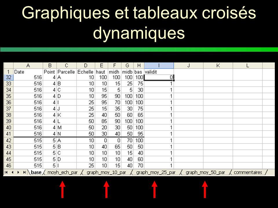 Les tableaux croisés dynamiques (1/6) Pour valider les données et dégager des tendances en faisant des graphiques
