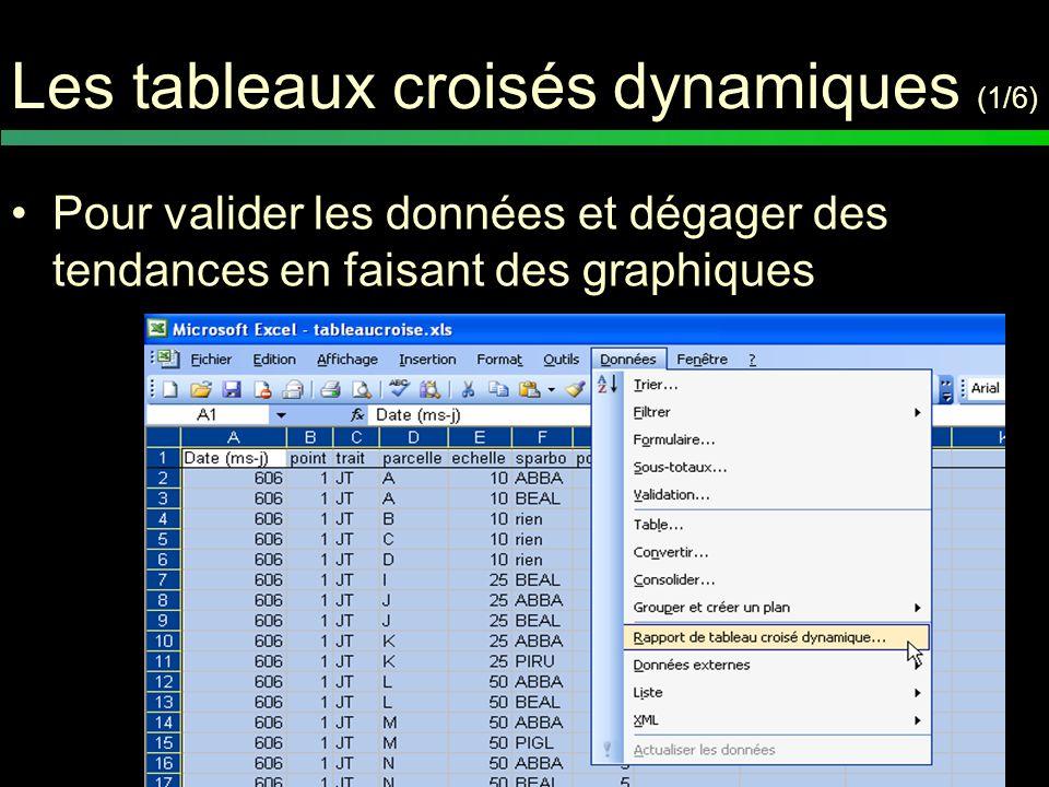 Les tableaux croisés dynamiques (2/6) Sélection de la plage de données