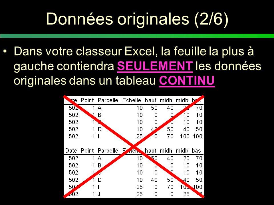 Données originales (2/6) Dans votre classeur Excel, la feuille la plus à gauche contiendra SEULEMENT les données originales dans un tableau CONTINU