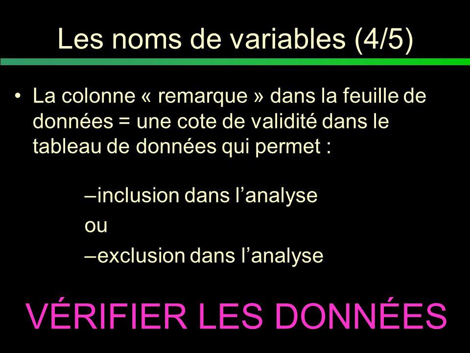 Les noms de variables (5/5) VÉRIFIER LES DONNÉES