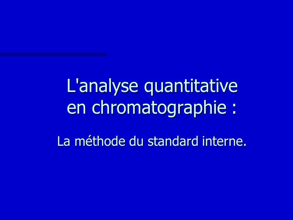 L'analyse quantitative en chromatographie : La méthode du standard interne.