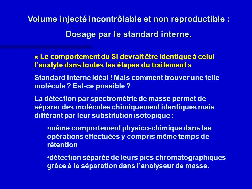 Volume injecté incontrôlable et non reproductible : Dosage par le standard interne.
