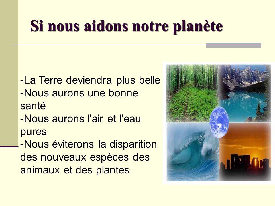 Si nous aidons notre planète -La Terre deviendra plus belle -Nous aurons une bonne santé -Nous aurons l'air et l'eau pures -Nous éviterons la disparit