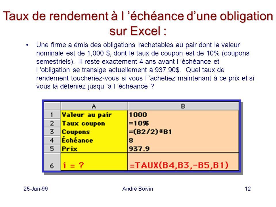 25-Jan-99André Boivin12 Taux de rendement à l 'échéance d'une obligation sur Excel : Une firme a émis des obligations rachetables au pair dont la valeur nominale est de 1,000 $, dont le taux de coupon est de 10% (coupons semestriels).