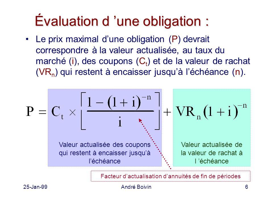 25-Jan-99André Boivin6 Évaluation d 'une obligation : Le prix maximal d'une obligation (P) devrait correspondre à la valeur actualisée, au taux du marché (i), des coupons (C t ) et de la valeur de rachat (VR n ) qui restent à encaisser jusqu'à l'échéance (n).