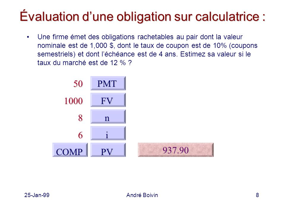25-Jan-99André Boivin8 Évaluation d'une obligation sur calculatrice : Une firme émet des obligations rachetables au pair dont la valeur nominale est de 1,000 $, dont le taux de coupon est de 10% (coupons semestriels) et dont l'échéance est de 4 ans.