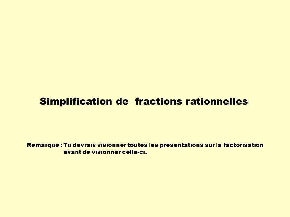 Remarque :Tu devrais visionner toutes les présentations sur la factorisation avant de visionner celle-ci. Simplification de fractions rationnelles