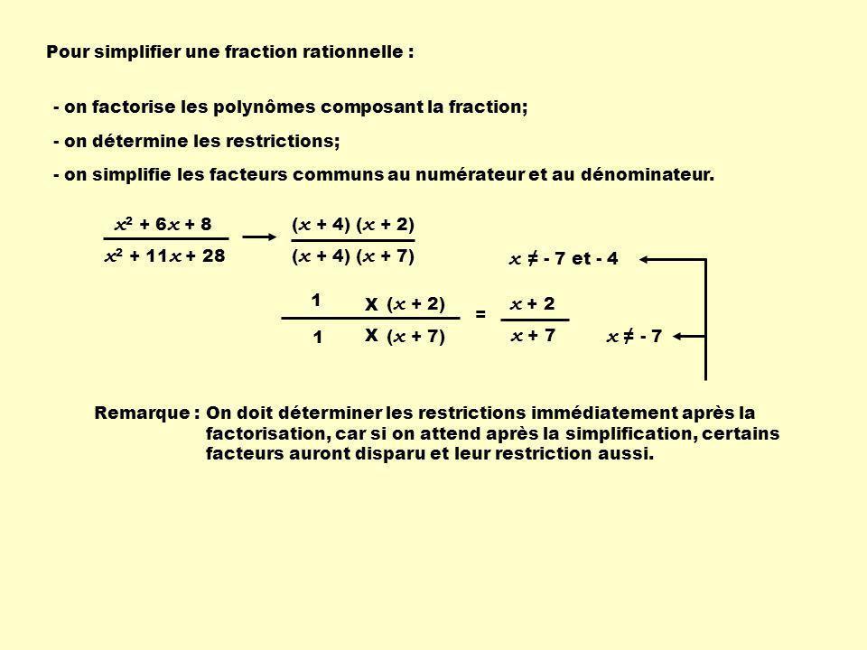 x 2 + 10 x + 25 x 2 - 25 si x ≠ - 5 et 5 ( x + 5) ( x - 5)( x + 5 ) 1 1 Simplifie les fractions rationnelles suivantes : x + 5 x - 5 = x 2 + 5 x + 6 x 2 + 4x + 4 si x ≠ - 2 ( x + 3)( x + 2 ) 1 1 x + 3 x + 2 = x 2 + 7 x + 10 x 2 + 8x + 12 si x ≠ - 2 et - 6 ( x + 2 )( x + 5) ( x + 2 )( x + 6) 1 1 x + 5 x + 6 =