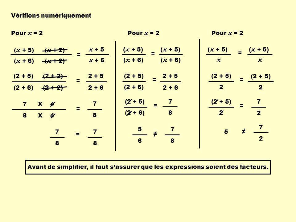 2 (2 + 5) = 7 2 (2 + 6) = 7 8 Vérifions numériquement ( x + 2)( x + 5) ( x + 2)( x + 6) x + 5 x + 6 = Pour x = 2 (2 + 5) (2 + 2) (2 + 6) (2 + 2) = 2 +