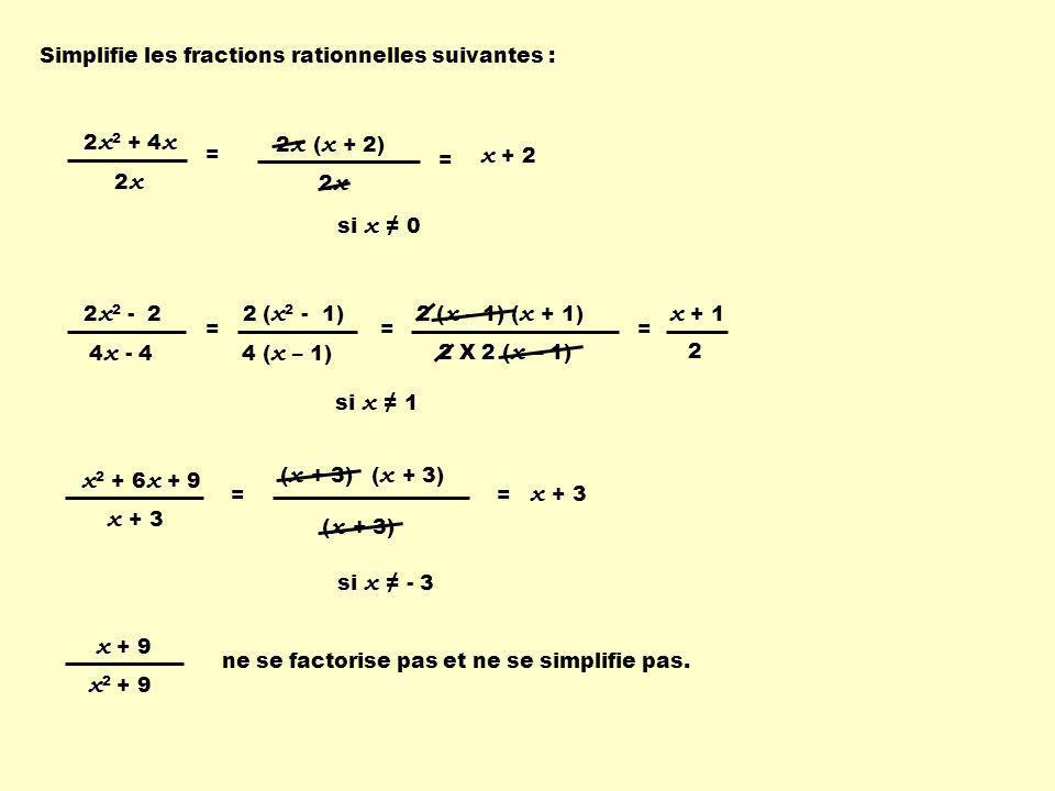 Simplifie les fractions rationnelles suivantes : 2 x 2 + 4 x 2x2x si x ≠ 0 2 x ( x + 2) 2x2x x + 2 = 2 x 2 - 2 4 x - 4 = = 2 ( x 2 - 1) 4 ( x – 1) = =