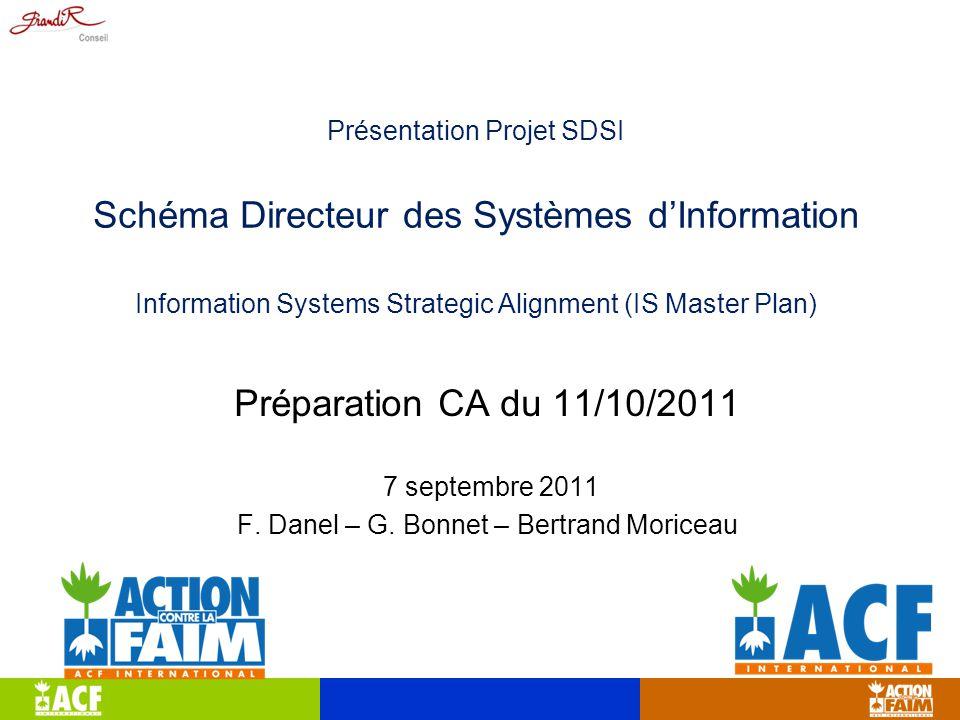 Présentation Projet SDSI Schéma Directeur des Systèmes d'Information Information Systems Strategic Alignment (IS Master Plan) Préparation CA du 11/10/2011 7 septembre 2011 F.