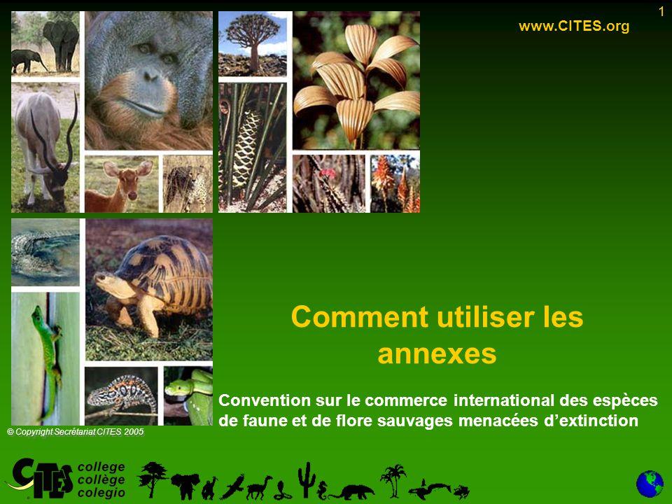 1 Comment utiliser les annexes 1 www.CITES.org © Copyright Secrétariat CITES 2005 Convention sur le commerce international des espèces de faune et de flore sauvages menacées d'extinction