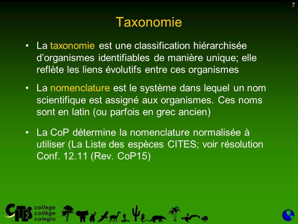 7 Taxonomie La taxonomie est une classification hiérarchisée d'organismes identifiables de manière unique; elle reflète les liens évolutifs entre ces organismes La nomenclature est le système dans lequel un nom scientifique est assigné aux organismes.