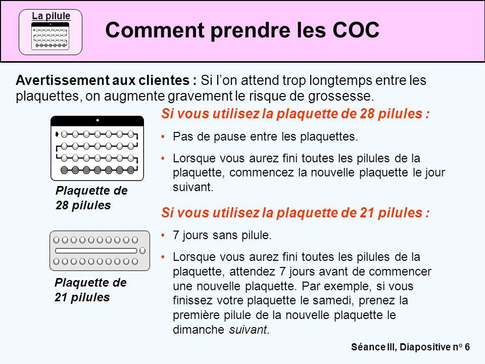 Séance III, Diapositive n o 17 Problèmes qui peuvent nécessiter l'arrêt des COC ou le passage à une autre méthode Source : CCP and WHO, 2011.