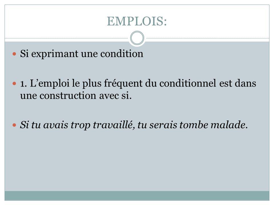 EMPLOIS: Si exprimant une condition 1. L'emploi le plus fréquent du conditionnel est dans une construction avec si. Si tu avais trop travaillé, tu ser