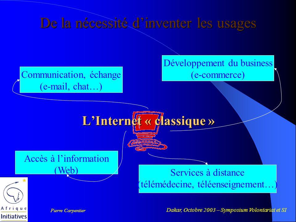 Dakar, Octobre 2003 – Symposium Volontariat et SI Pierre Carpentier Usages populaires Services de proximité De la nécessité d'inventer les usages People @ Net