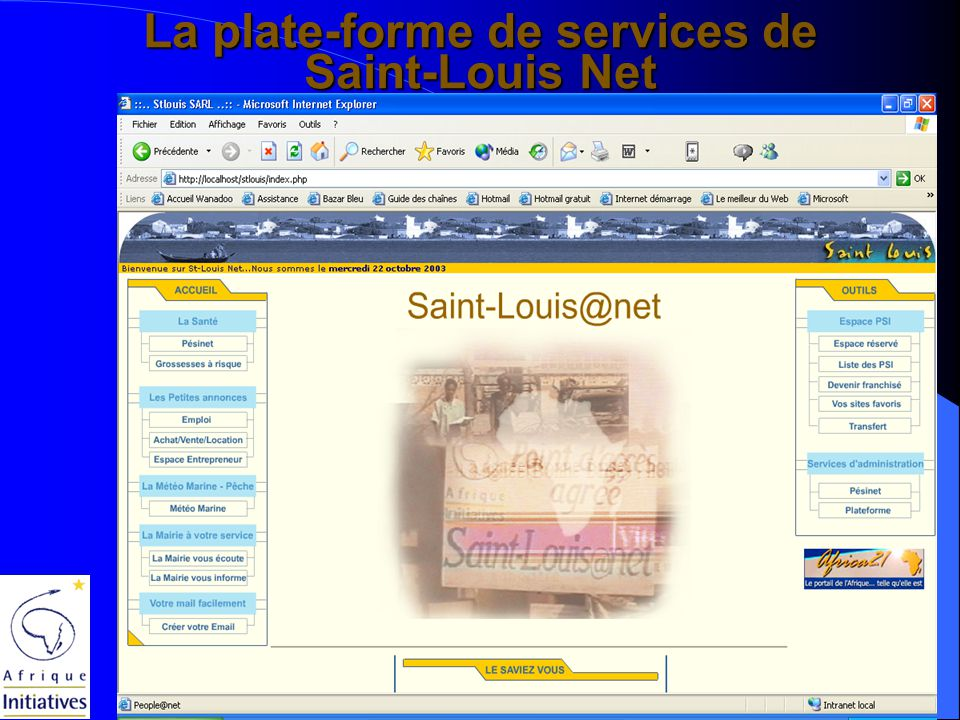 Dakar, Octobre 2003 – Symposium Volontariat et SI Pierre Carpentier Les PSI franchisés de Saint-Louis Net (octobre 2003)