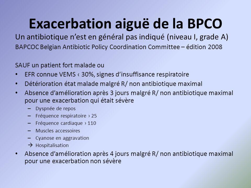 Exacerbation aiguë de la BPCO Un antibiotique n'est en général pas indiqué (niveau I, grade A) BAPCOC Belgian Antibiotic Policy Coordination Committee