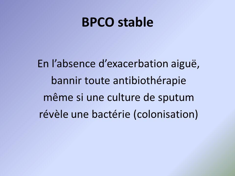 BPCO stable En l'absence d'exacerbation aiguë, bannir toute antibiothérapie même si une culture de sputum révèle une bactérie (colonisation)