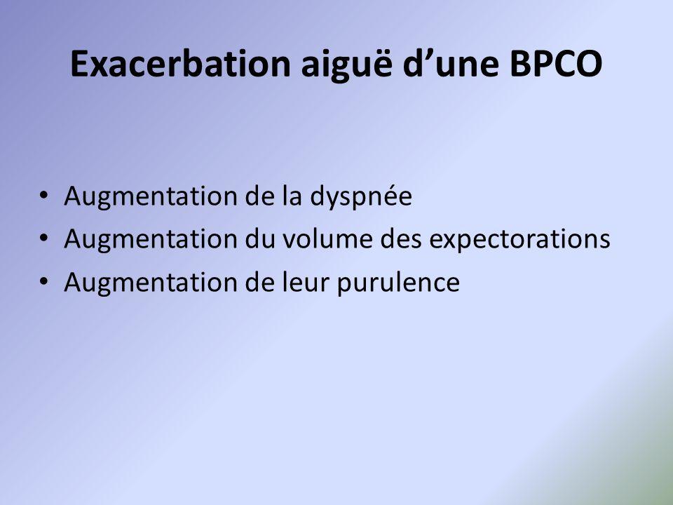 Exacerbation aiguë d'une BPCO Augmentation de la dyspnée Augmentation du volume des expectorations Augmentation de leur purulence