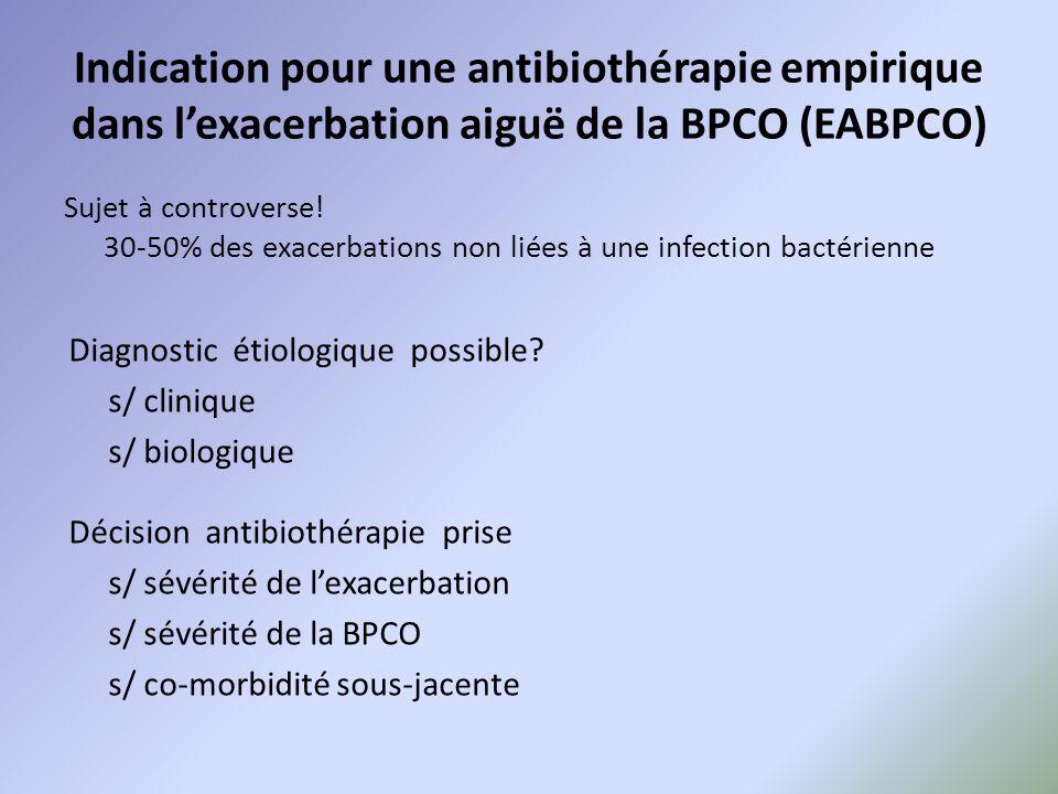 Indication pour une antibiothérapie empirique dans l'exacerbation aiguë de la BPCO (EABPCO) Sujet à controverse! 30-50% des exacerbations non liées à