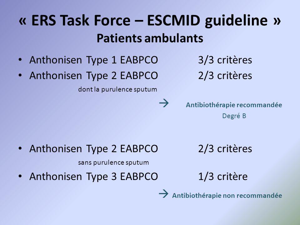 « ERS Task Force – ESCMID guideline » Patients ambulants Anthonisen Type 1 EABPCO3/3 critères Anthonisen Type 2 EABPCO2/3 critères dont la purulence s