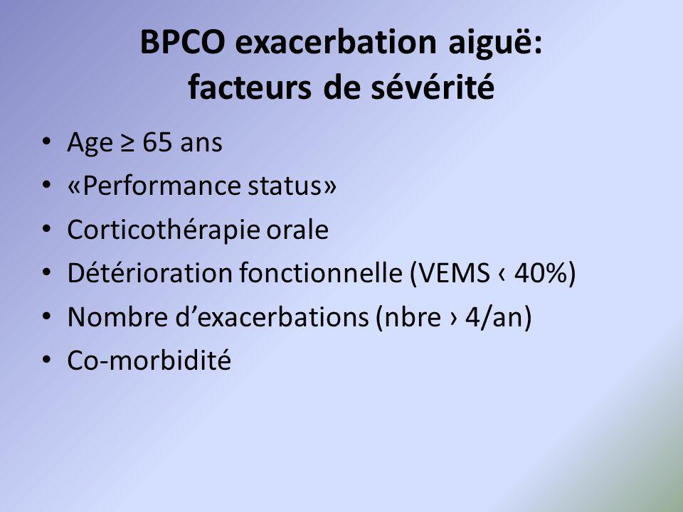 BPCO exacerbation aiguë: facteurs de sévérité Age ≥ 65 ans «Performance status» Corticothérapie orale Détérioration fonctionnelle (VEMS ‹ 40%) Nombre