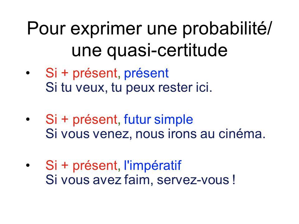 Pour exprimer une probabilité/ une quasi-certitude Si + présent, présent Si tu veux, tu peux rester ici. Si + présent, futur simple Si vous venez, nou