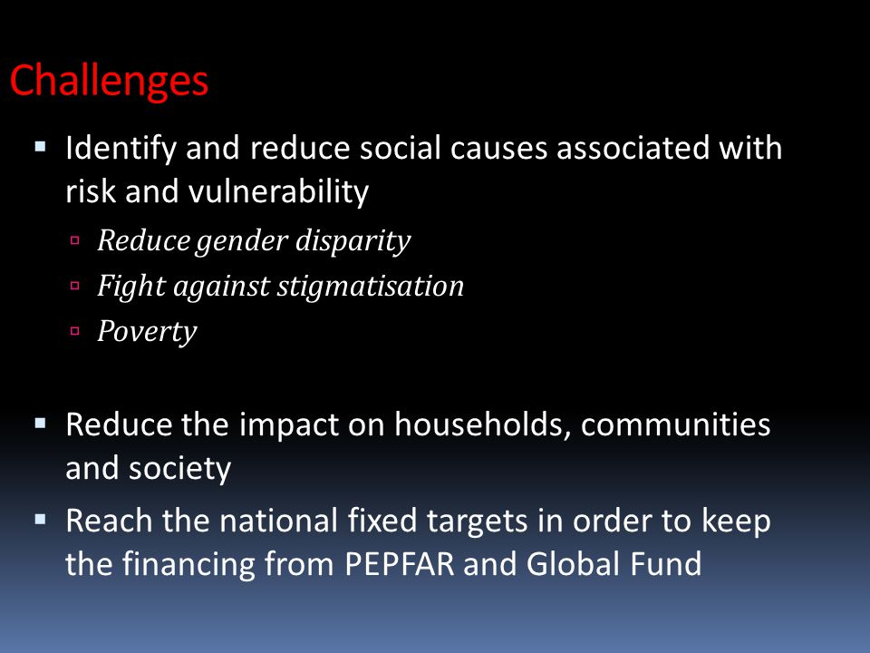  Identify and reduce social causes associated with risk and vulnerability  Reduce gender disparity  Fight against stigmatisation  Poverty  Reduce the impact on households, communities and society  Reach the national fixed targets in order to keep the financing from PEPFAR and Global Fund Challenges