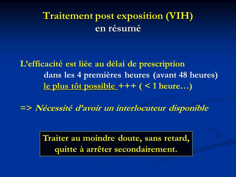 Traitement post exposition (VIH) en résumé L'efficacité est liée au délai de prescription dans les 4 premières heures (avant 48 heures) le plus tôt po