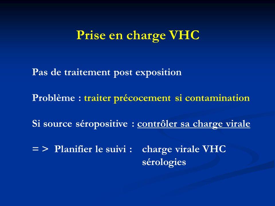 Prise en charge VHC Pas de traitement post exposition Problème : traiter précocement si contamination Si source séropositive : contrôler sa charge vir