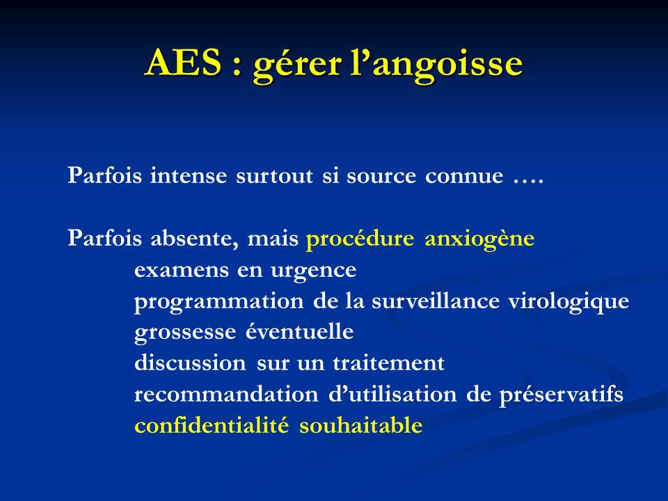 AES : gérer l'angoisse Parfois intense surtout si source connue …. Parfois absente, mais procédure anxiogène examens en urgence programmation de la su