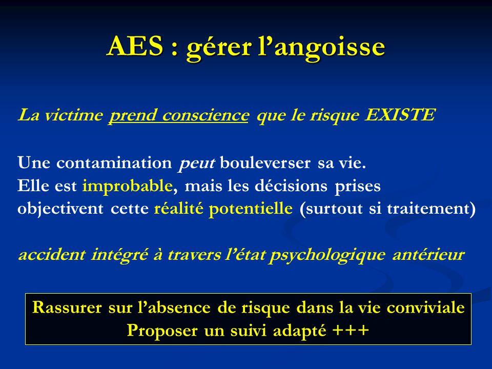 AES : gérer l'angoisse La victime prend conscience que le risque EXISTE Une contamination peut bouleverser sa vie. Elle est improbable, mais les décis