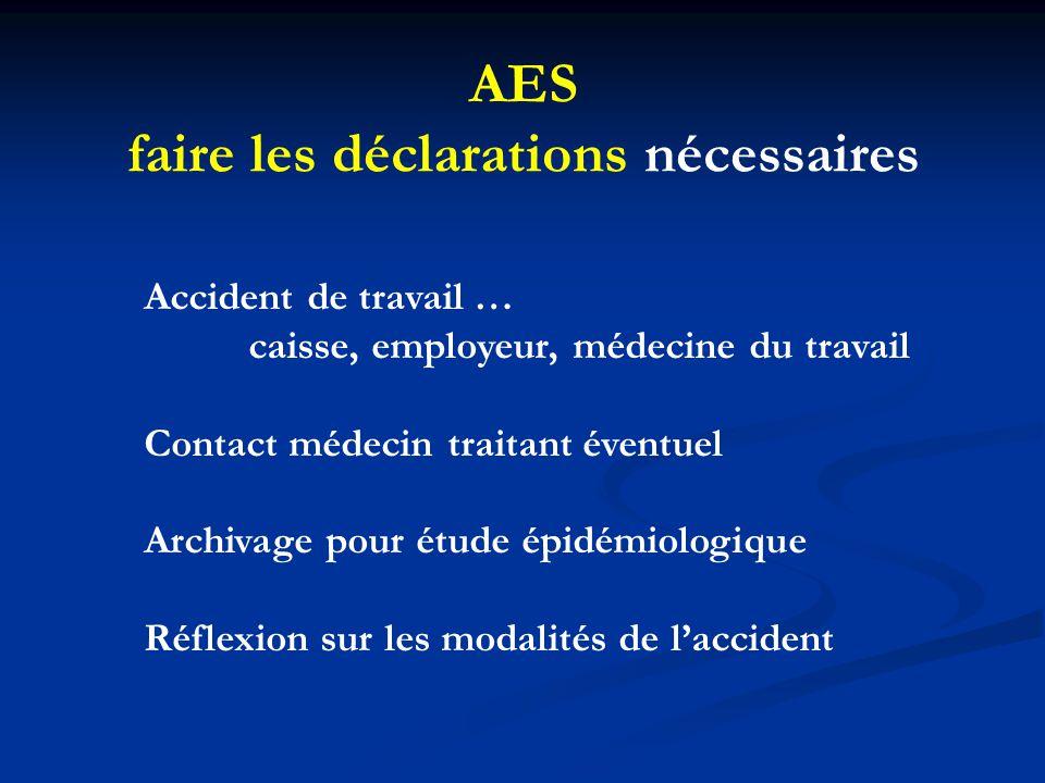 AES faire les déclarations nécessaires Accident de travail … caisse, employeur, médecine du travail Contact médecin traitant éventuel Archivage pour é