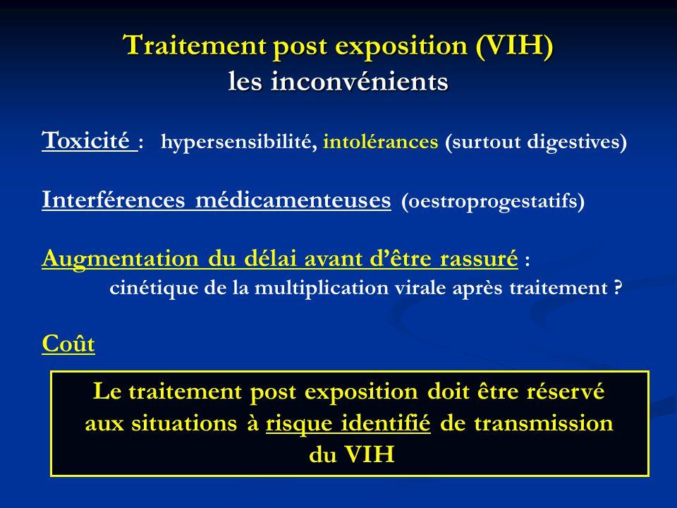 Traitement post exposition (VIH) les inconvénients Toxicité : hypersensibilité, intolérances (surtout digestives) Interférences médicamenteuses (oestr