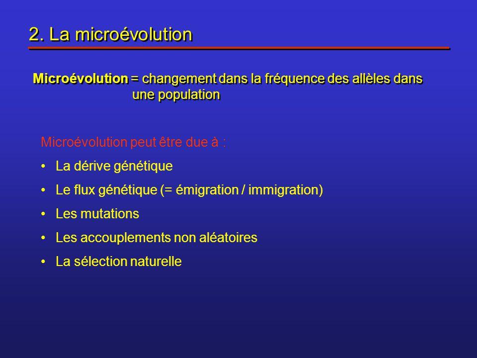 2. La microévolution Microévolution = changement dans la fréquence des allèles dans une population Microévolution peut être due à : La dérive génétiqu