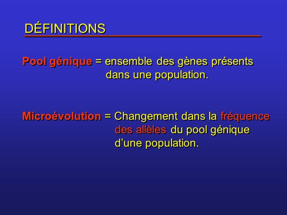 Fréquence des allèles Exemple: couleur des yeux dans la population des étudiants du cégep de Sainte-Foy Dans la population il y a des individus: BB Bb bb Fréquence de l'allèle B = (2 x nombre d'individus BB) + (1 x nombre d 'individus Bb) Fréquence de l'allèle B = (2 x nombre d'individus BB) + (1 x nombre d 'individus Bb) Fréquence de l'allèle b = (2 x nombre d'individus bb) + (1 x nombre d 'individus Bb) Fréquence de l'allèle b = (2 x nombre d'individus bb) + (1 x nombre d 'individus Bb)