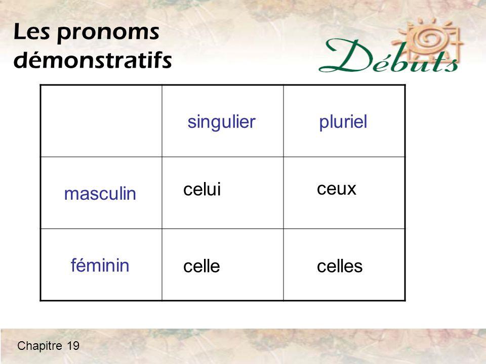 singulierpluriel masculin féminin Les pronoms démonstratifs celui celle ceux celles Chapitre 19