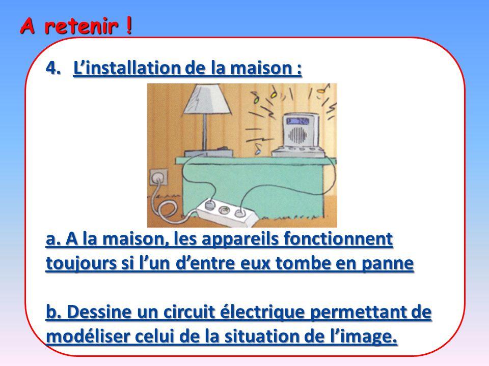 A retenir ! 4.L'installation de la maison : a. A la maison, les appareils fonctionnent toujours si l'un d'entre eux tombe en panne b. Dessine un circu
