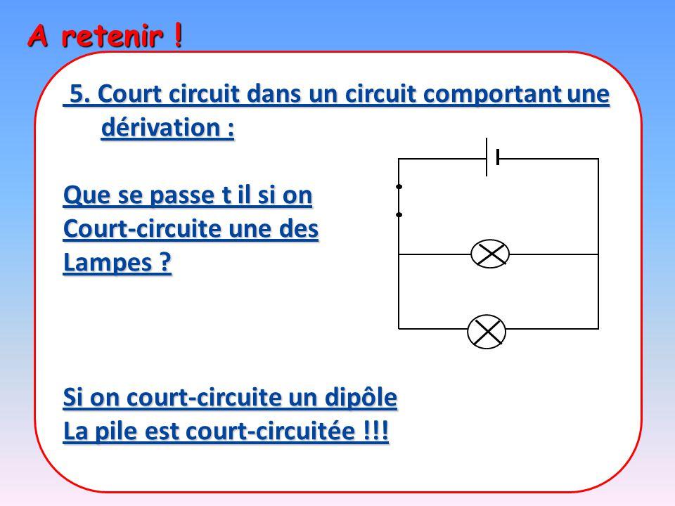 A retenir ! 5. Court circuit dans un circuit comportant une dérivation : 5. Court circuit dans un circuit comportant une dérivation : Que se passe t i