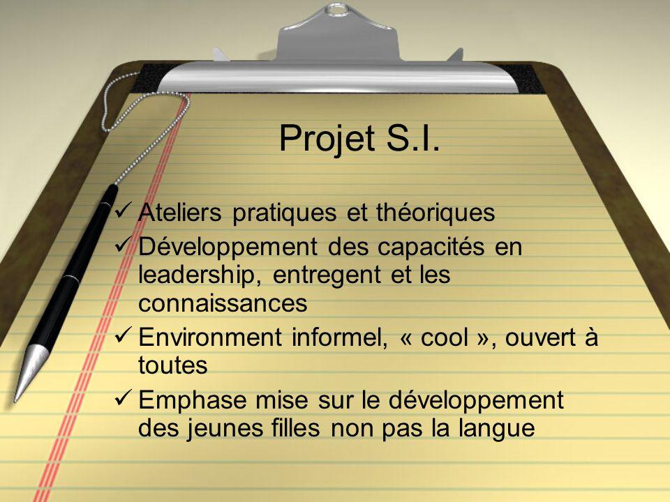 Projet S.I. Ateliers pratiques et théoriques Développement des capacités en leadership, entregent et les connaissances Environment informel, « cool »,