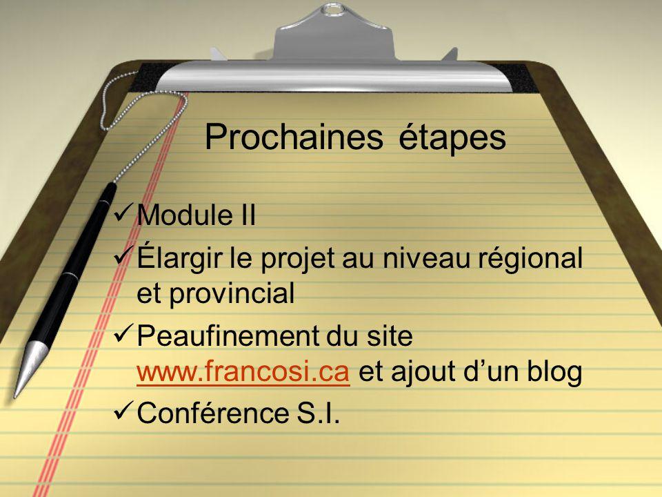 Prochaines étapes Module II Élargir le projet au niveau régional et provincial Peaufinement du site www.francosi.ca et ajout d'un blog www.francosi.ca