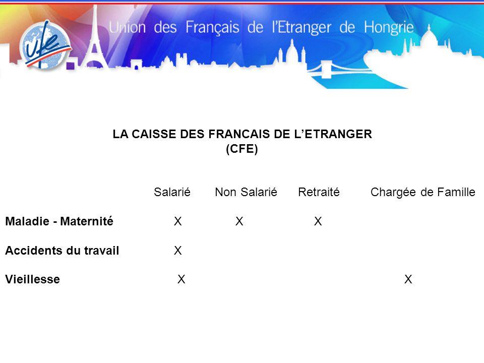 LA CAISSE DES FRANCAIS DE L'ETRANGER (CFE) Salarié Non Salarié Retraité Chargée de Famille Maladie - Maternité X X X Accidents du travail X Vieillesse X X