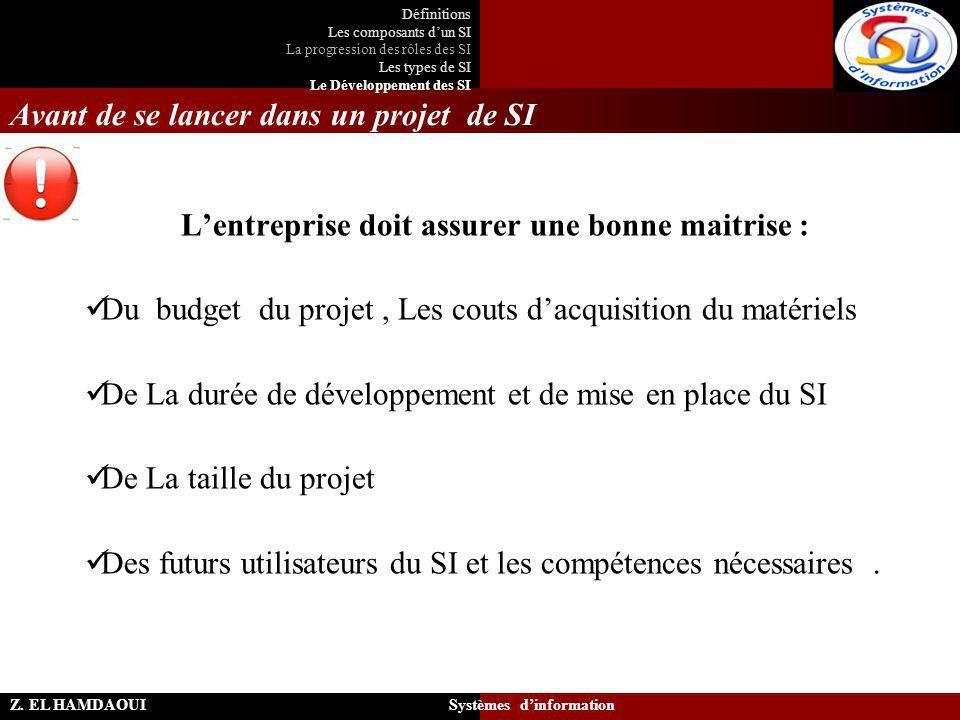 Avant de se lancer dans un projet de SI L'entreprise doit assurer une bonne maitrise : Du budget du projet, Les couts d'acquisition du matériels De La
