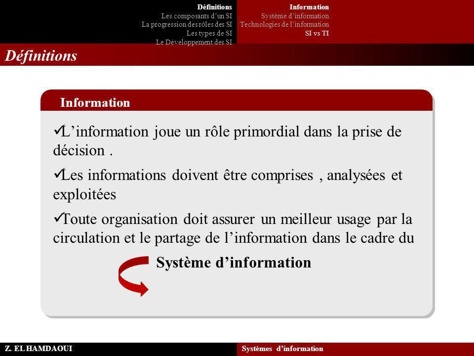 L'information joue un rôle primordial dans la prise de décision. Les informations doivent être comprises, analysées et exploitées Toute organisation d