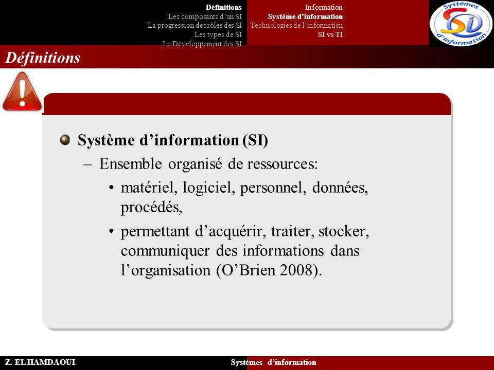 Z. EL HAMDAOUI Systèmes d'information Définitions Système d'information (SI) –Ensemble organisé de ressources: matériel, logiciel, personnel, données,