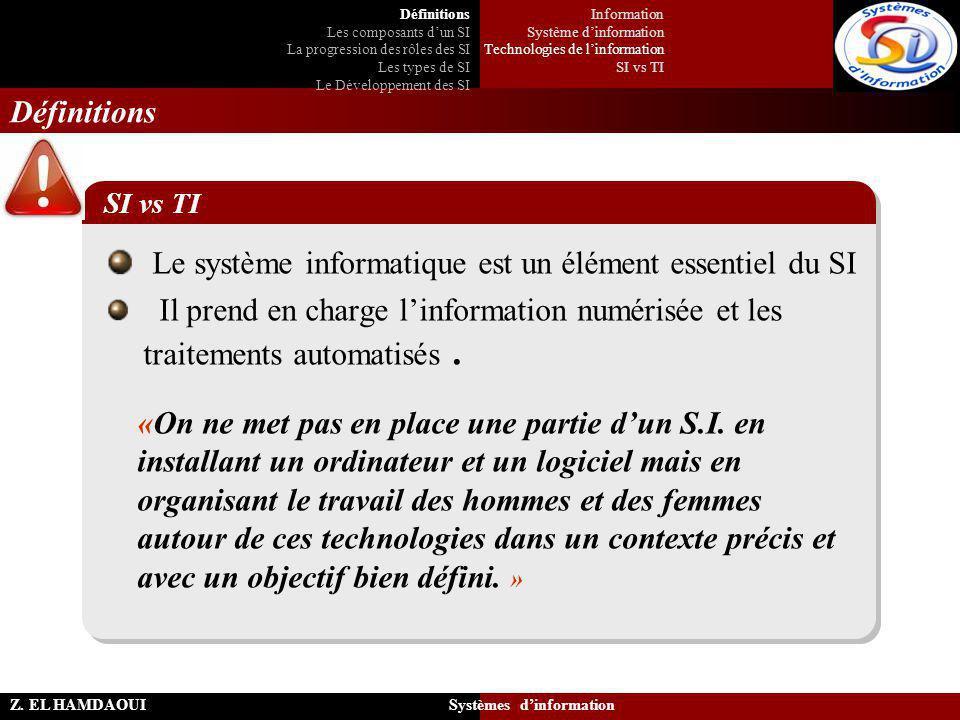 Z. EL HAMDAOUI Systèmes d'information Définitions Le système informatique est un élément essentiel du SI Il prend en charge l'information numérisée et