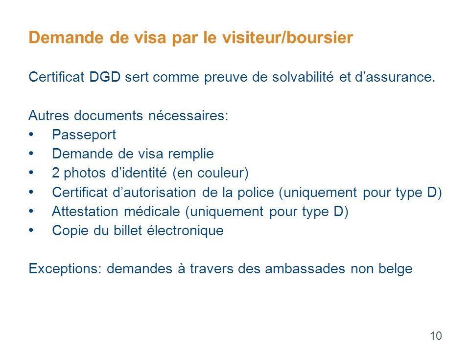 Demande de visa par le visiteur/boursier Certificat DGD sert comme preuve de solvabilité et d'assurance.