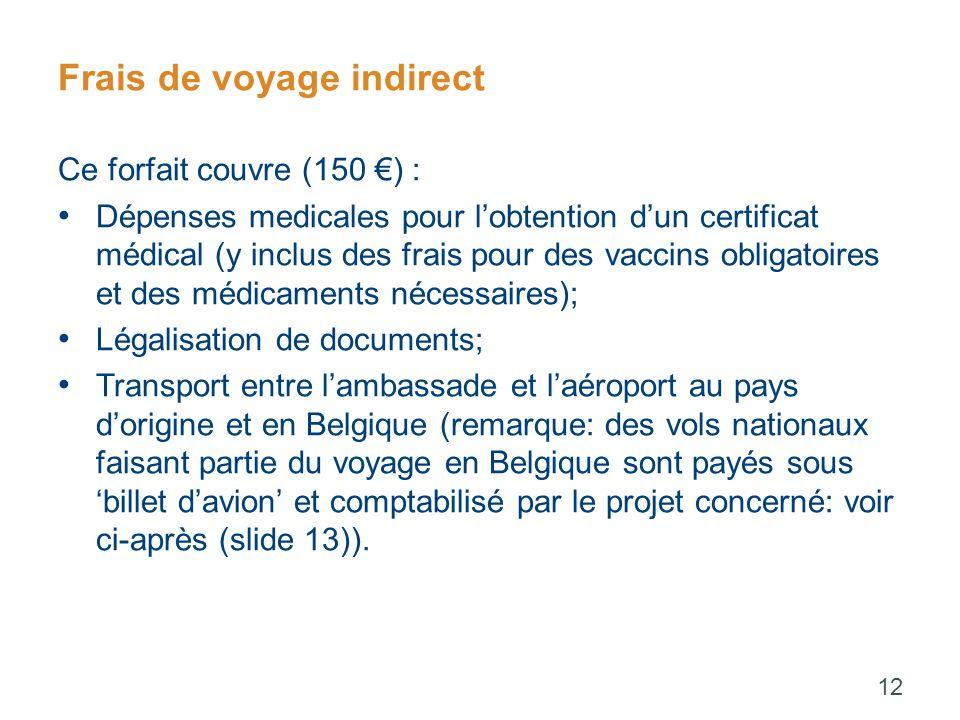 Frais de voyage indirect Ce forfait couvre (150 €) : Dépenses medicales pour l'obtention d'un certificat médical (y inclus des frais pour des vaccins obligatoires et des médicaments nécessaires); Légalisation de documents; Transport entre l'ambassade et l'aéroport au pays d'origine et en Belgique (remarque: des vols nationaux faisant partie du voyage en Belgique sont payés sous 'billet d'avion' et comptabilisé par le projet concerné: voir ci-après (slide 13)).