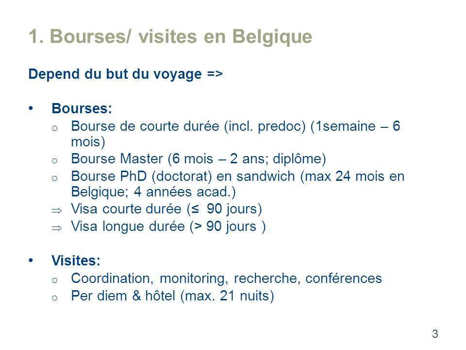 1. Bourses/ visites en Belgique Depend du but du voyage => Bourses: o Bourse de courte durée (incl.